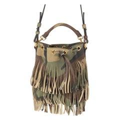 SAINT LAURENT green camouflage suede EMMANUELLE Bucket Shoulder Bag