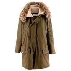 Saint Laurent Green Cotton & Linen Fur Trimmed Hooded Jacket - Size US 4