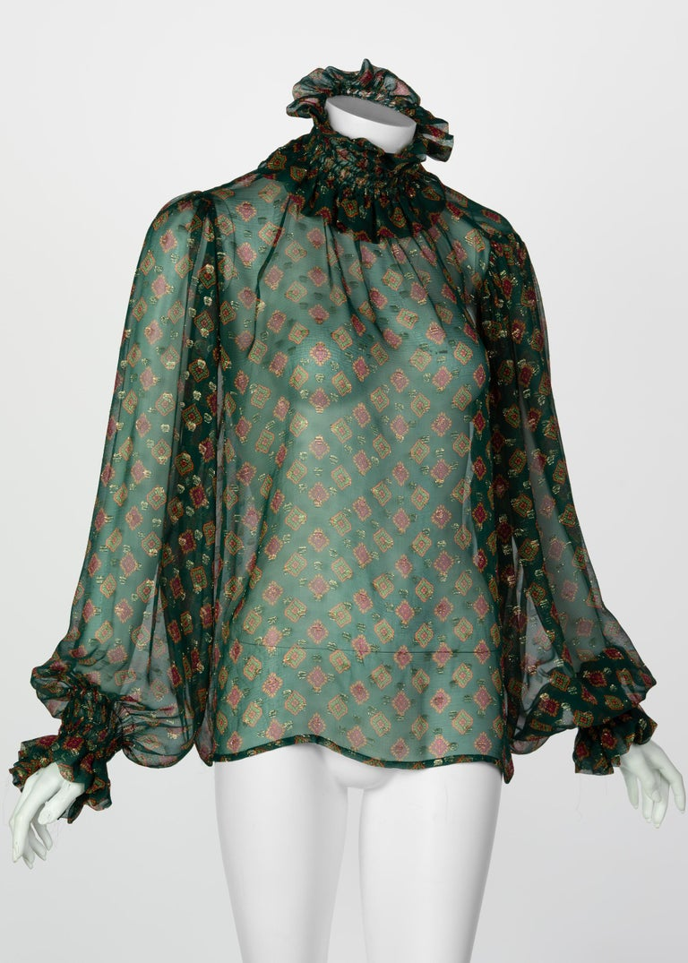 Saint Laurent Green Gold Print Silk Peasant Blouse YSL, 1970s In Excellent Condition For Sale In Boca Raton, FL