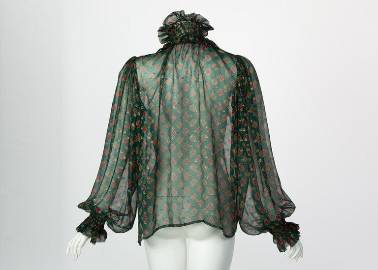 Women's or Men's Saint Laurent Green Gold Print Silk Peasant Blouse YSL, 1970s For Sale