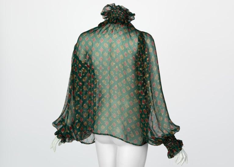 Saint Laurent Green Gold Print Silk Peasant Blouse YSL, 1970s For Sale 1