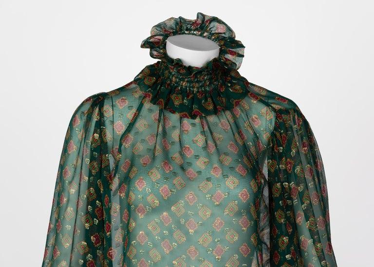 Saint Laurent Green Gold Print Silk Peasant Blouse YSL, 1970s For Sale 2