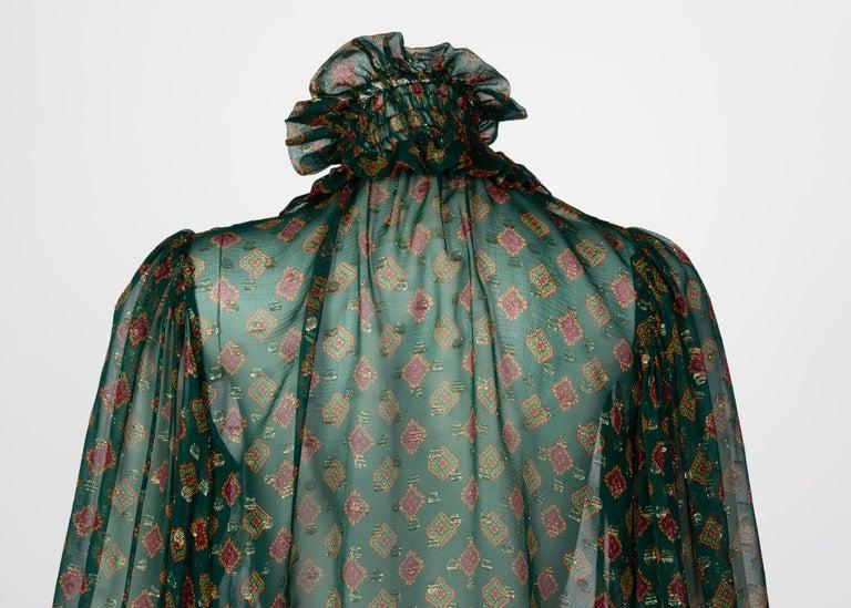 Saint Laurent Green Gold Print Silk Peasant Blouse YSL, 1970s For Sale 3