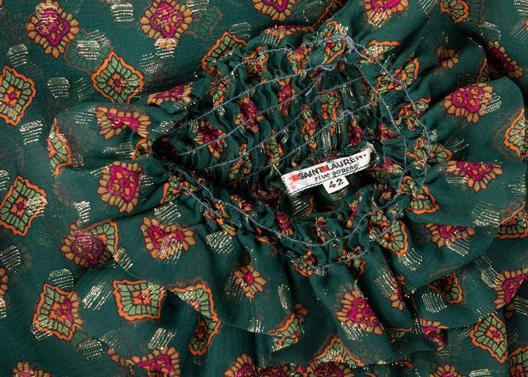 Saint Laurent Green Gold Print Silk Peasant Blouse YSL, 1970s For Sale 4