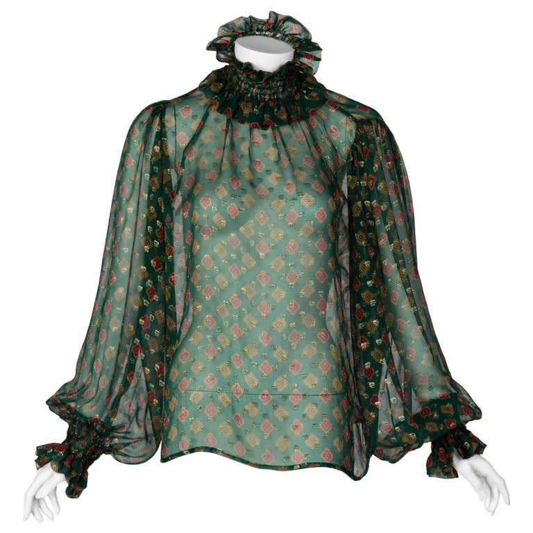 Saint Laurent Green Gold Print Silk Peasant Blouse YSL, 1970s For Sale