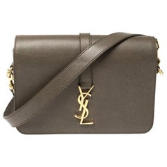 Saint Laurent Green Khaki Leather Medium Monogram Université Flap Shoulder Bag
