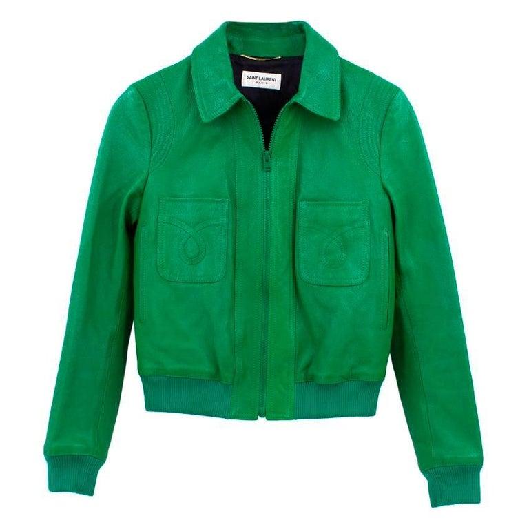 4ac007d20 Yves Saint Laurent Green Leather Bomber Jacket