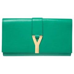 Saint Laurent Green Leather Ligne Y Clutch