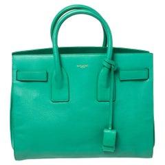 Saint Laurent Green Leather Small Classic Sac De Jour Tote