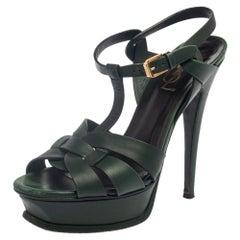 Saint Laurent Green Leather Tribute Platform Ankle Strap Sandals Size 37