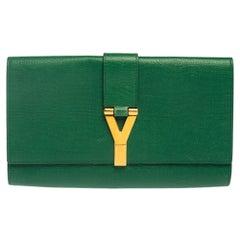 Saint Laurent Green Leather Y-Ligne Clutch