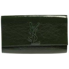 Saint Laurent Green Patent Leather Belle De Jour Flap Clutch