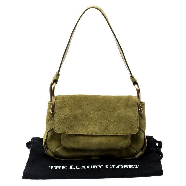 Saint Laurent Green Suede Shoulder Bag For Sale at 1stdibs 63f0d3b42a0c6