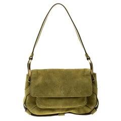 Saint Laurent Green Suede Shoulder Bag