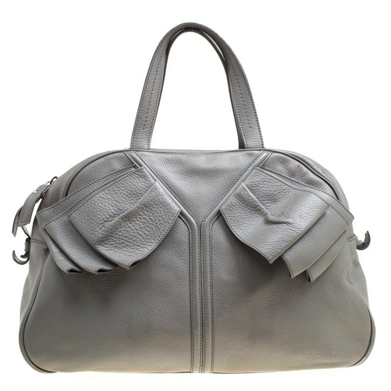 5027452a08ea Saint Laurent Grey Leather Large Obi Bowler Bag For Sale at 1stdibs