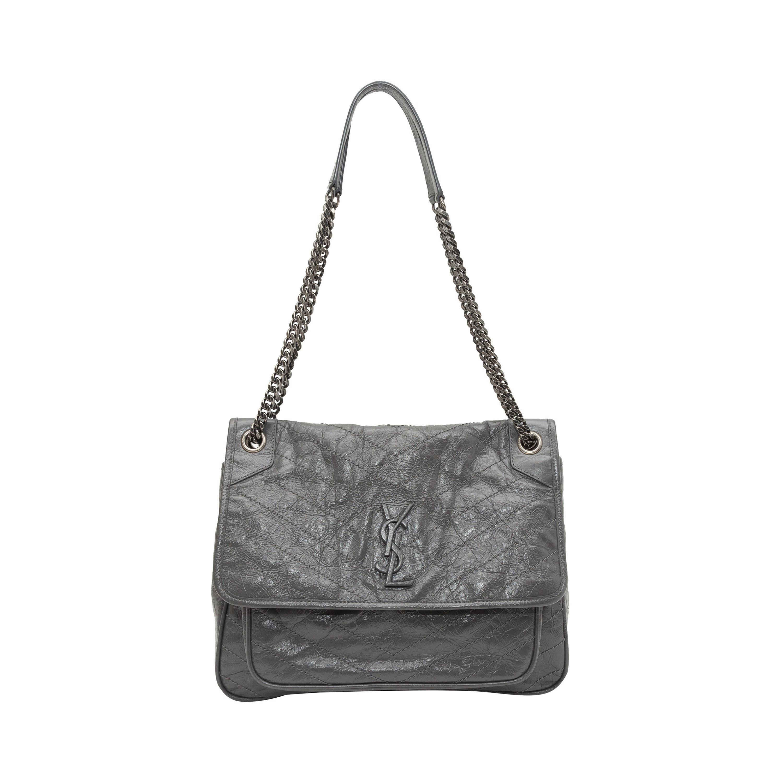 Saint Laurent Grey Leather Medium Niki Shoulder Bag