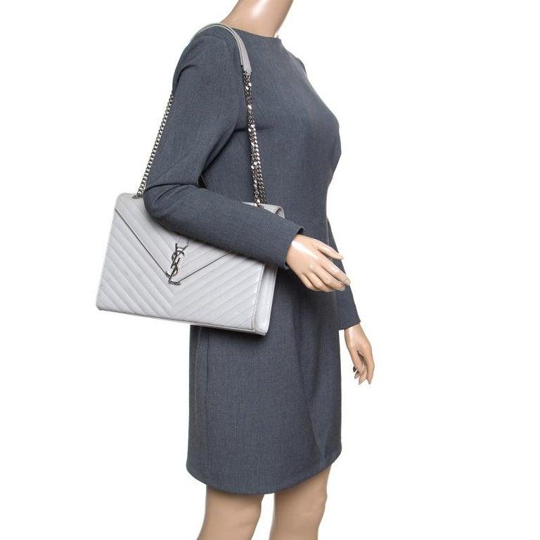 d1a62b6a33 Gray Saint Laurent Grey Leather Monogram Envelope Shoulder Bag For Sale