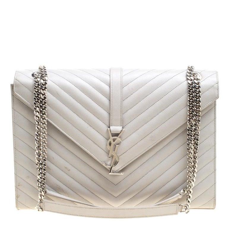 496f6010874 Saint Laurent Grey Leather Monogram Envelope Shoulder Bag For Sale ...