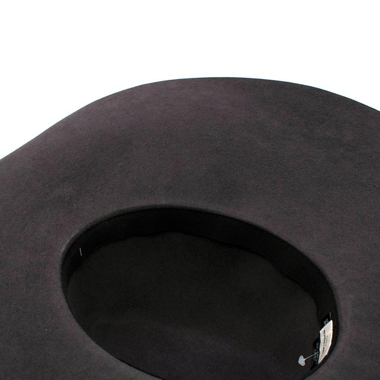 Women's or Men's Saint Laurent Grey Rabbit Felt Floppy Fedora Hat 58 For Sale