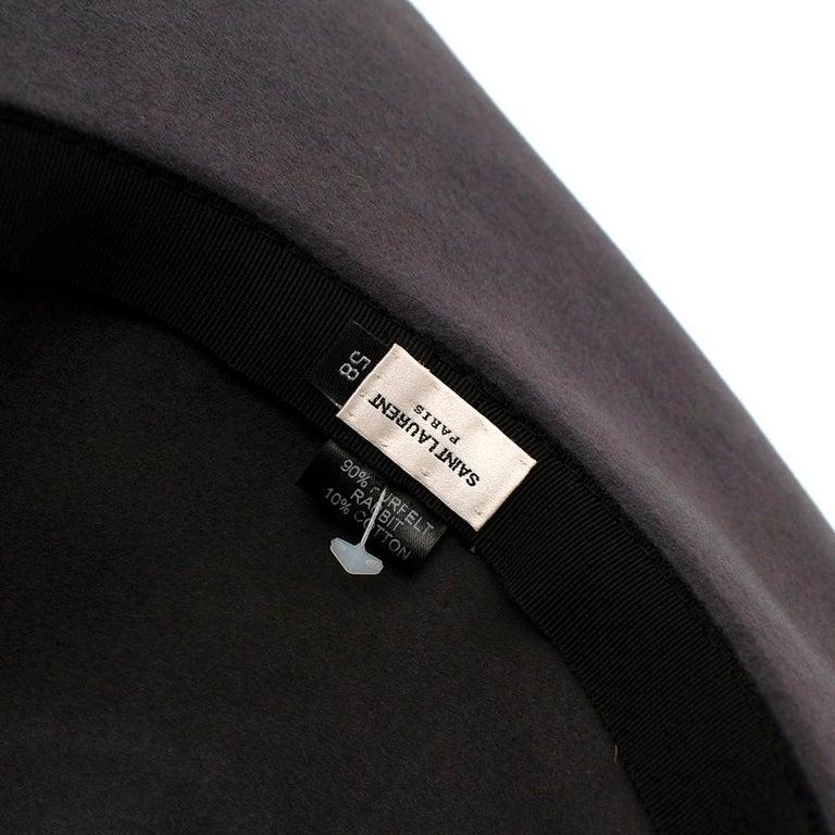 Saint Laurent Grey Rabbit Felt Floppy Fedora Hat 58 For Sale 2