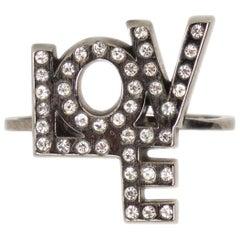SAINT LAURENT gunmetal EMBELLISHED TRESOR LOVE Ring 6