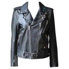 Saint Laurent Hand-Painted Distressed Leather Biker Jacket