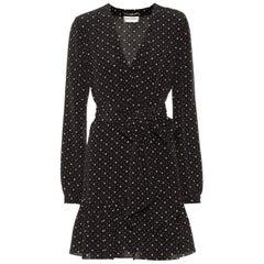Saint Laurent Heart-Printed Silk Mini Dress