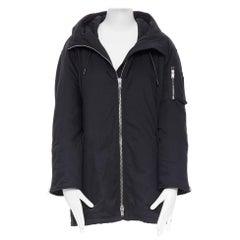 SAINT LAURENT HEDI SLIMANE 2015 black nylon zip front hooded parka coat FR36