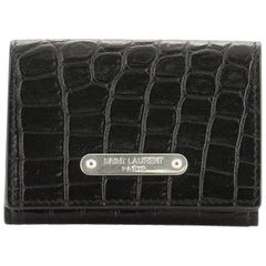Saint Laurent ID Trifold Wallet Crocodile Embossed Leather Compact