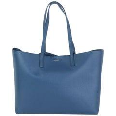 SAINT LAURENT indigo blue leather SHOPPING Tote Shoulder Bag