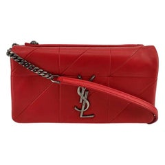 SAINT LAURENT Jamie Shoulder bag in Red Leather