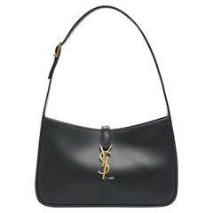 Saint Laurent Black Leather Le 5 à 7 Hobo Bag