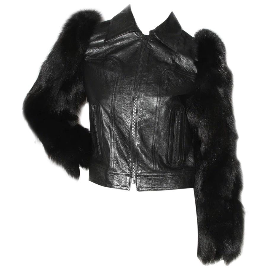 Saint Laurent Leather Jacket with Fur Sleeves