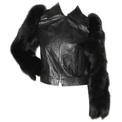 Saint Laurent Leather Jacket with Fur Sleeves