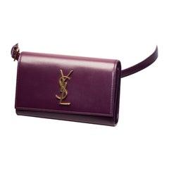 Saint Laurent Leather Monogram Kate Belt Bag - Purple