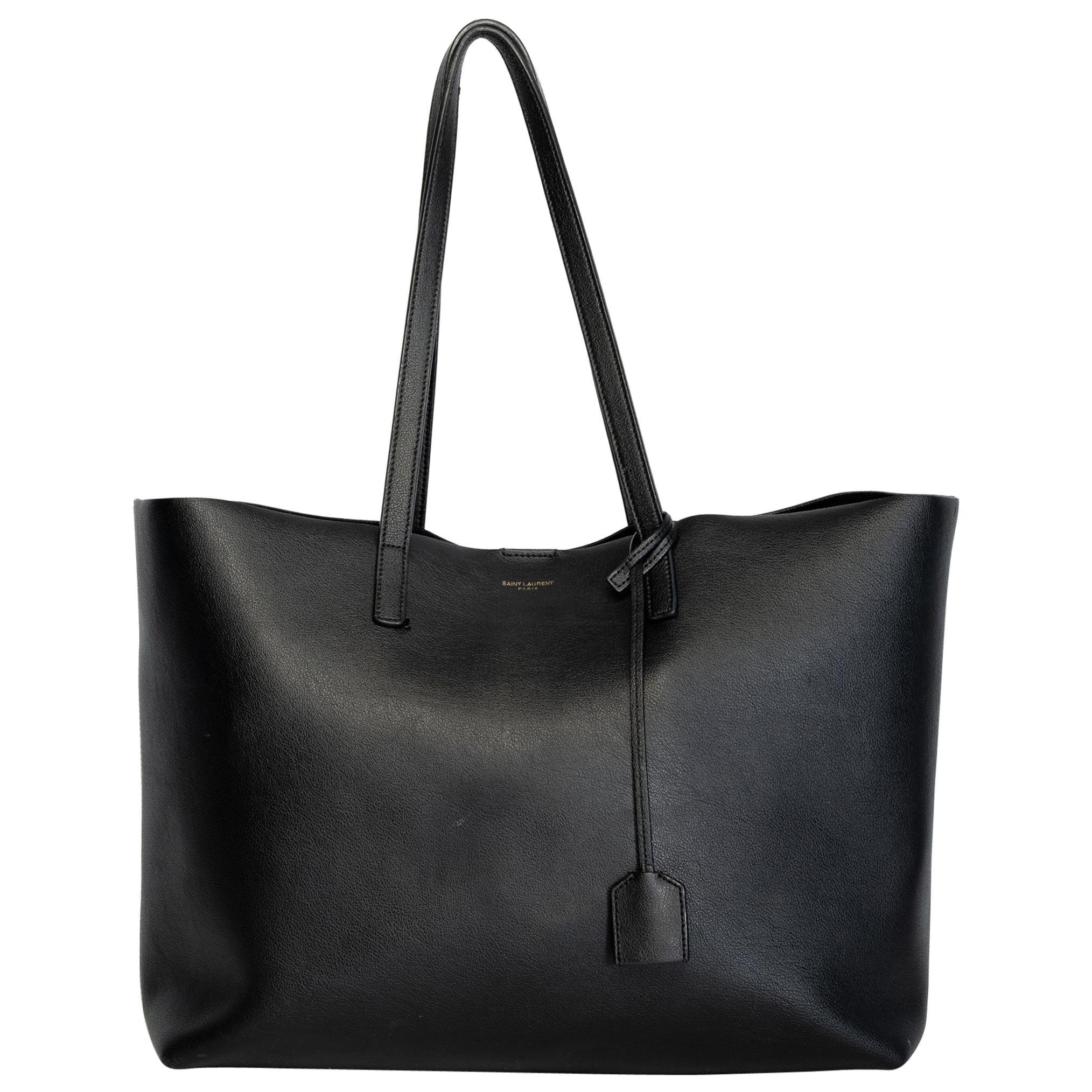 Saint Laurent Shopping Black Leather Tote