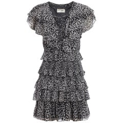 Saint Laurent Leopard-Print Ruffle Mini Dress