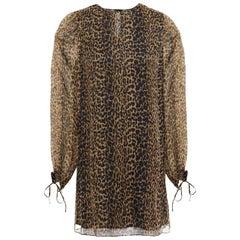 Saint Laurent Leopard Print Silk Chiffon Mini Dress