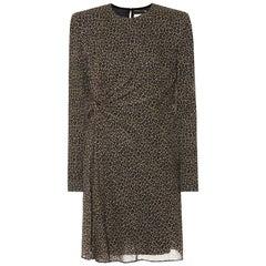 Saint Laurent Leopard Print Wool Mini Dress