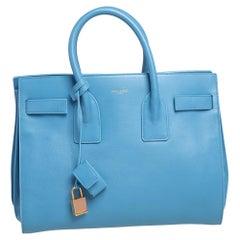 Saint Laurent Light Blue Leather Small Classic Sac De Jour Tote