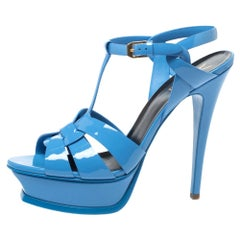 Saint Laurent Light Blue Patent Leather Tribute Platform Sandals Size 39.5
