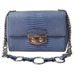 """SAINT LAURENT Light Blue""""Le Sixième"""" Embossed Leather Bag"""