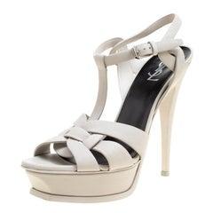 Saint Laurent Light Grey Leather Tribute Platform Sandals Size 40