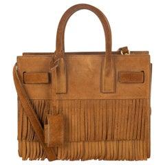 SAINT LAURENT Light Ochre brown suede SAC DE JOUR NANO FRINGE Shoulder Bag