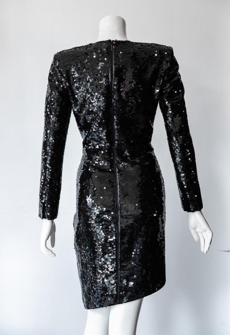Black Saint Laurent Long Sleeve Sequin Cocktail Dress For Sale