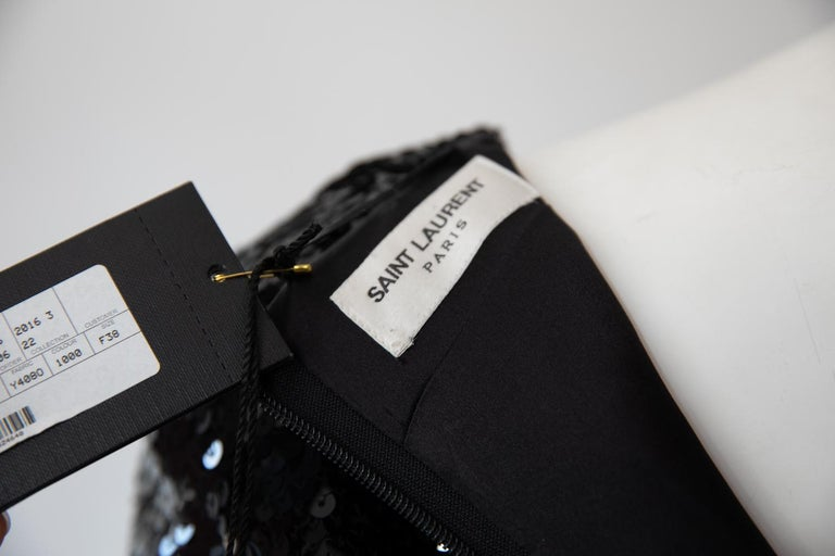 Women's Saint Laurent Long Sleeve Sequin Cocktail Dress For Sale