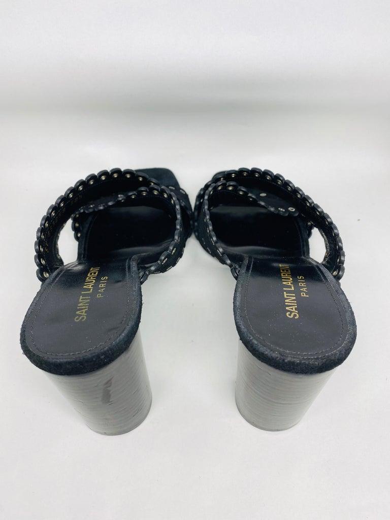 Saint Laurent Lou Black Suede Heel Mule Sandals Size 38.5 For Sale 7