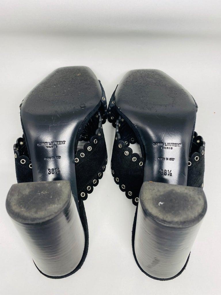 Saint Laurent Lou Black Suede Heel Mule Sandals Size 38.5 For Sale 8