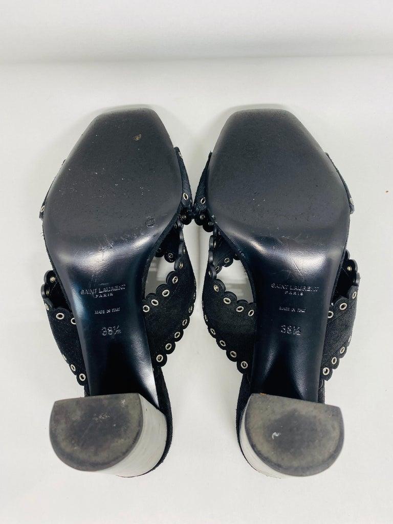 Saint Laurent Lou Black Suede Heel Mule Sandals Size 38.5 For Sale 9