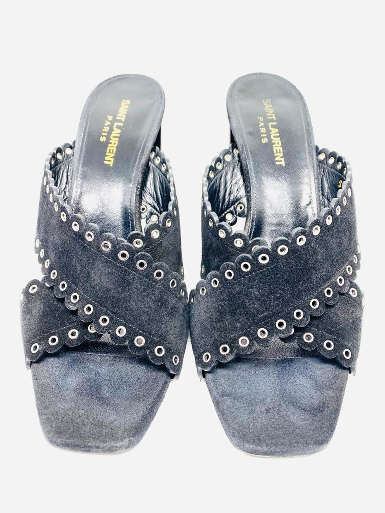 Saint Laurent Lou Black Suede Heel Mule Sandals Size 38.5  Product details: Size 38.5 Black suede with silver tone hardware Open toe Chunky high heel 4 inches high Slip-on style Made in Italy